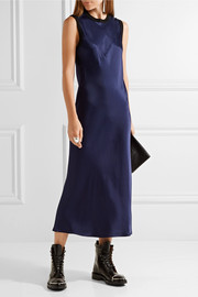 DKNY Merino wool-trimmed satin midi dress