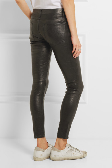 Frame Le Skinny Stretch Leather Pants Net A Porter Com