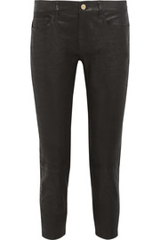 Frame Le Garcon cropped stretch-leather slim boyfriend pants