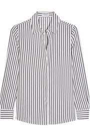 Le Classic striped silk crepe de chine shirt