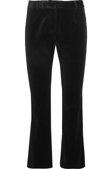 Frame - Le Velvet Cropped Velvet Flared Pants - Black