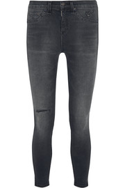 Rag & bone The Capri cropped distressed mid-rise skinny jeans
