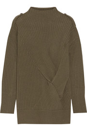 Rag & bone Dale twist-front ribbed merino wool sweater