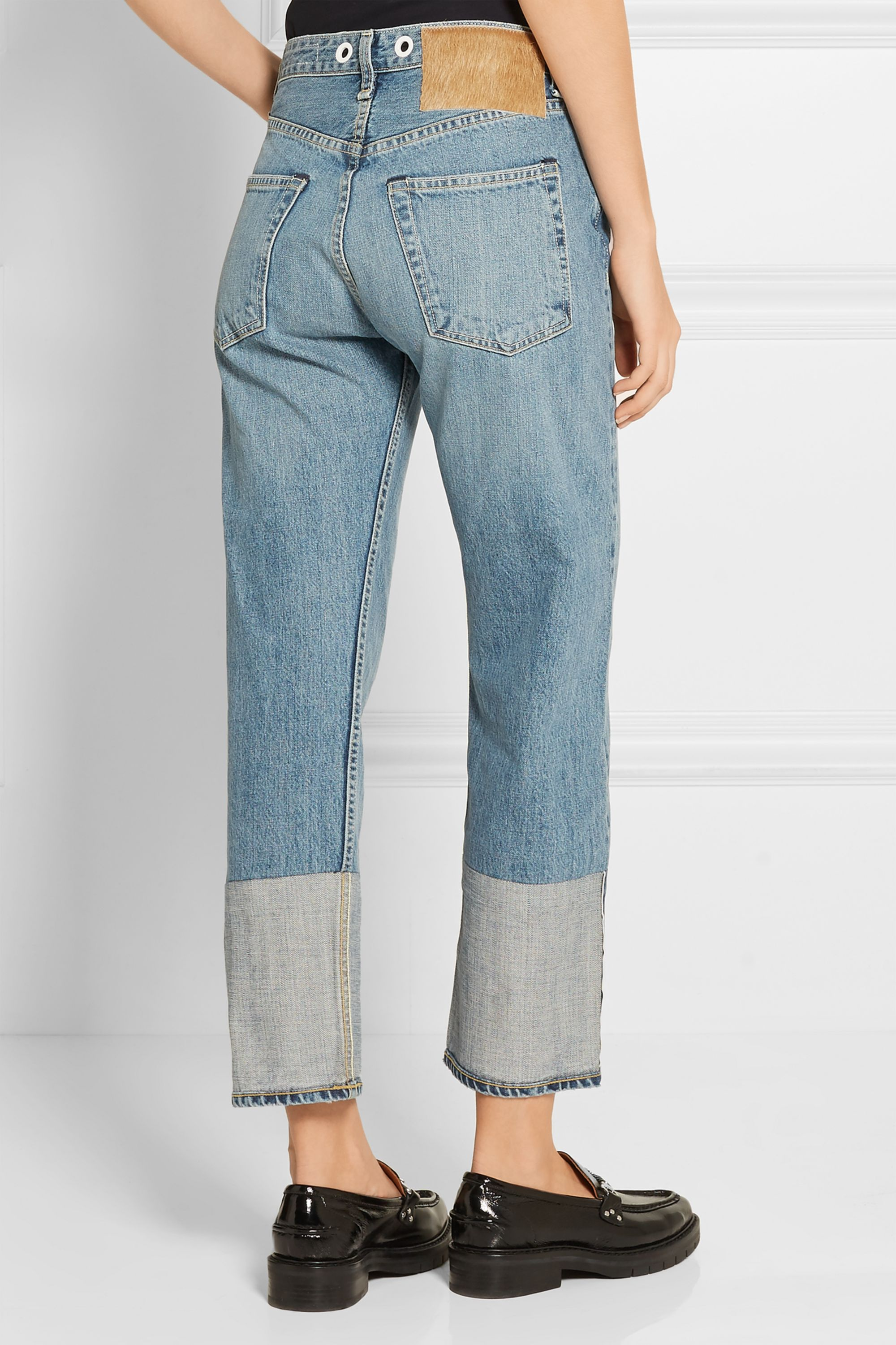 rag & bone Embellished cropped high-rise straight-leg jeans
