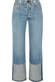 Embellished cropped high-rise straight-leg jeans
