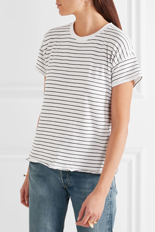 rag & bone Distressed striped cotton-blend T-shirt