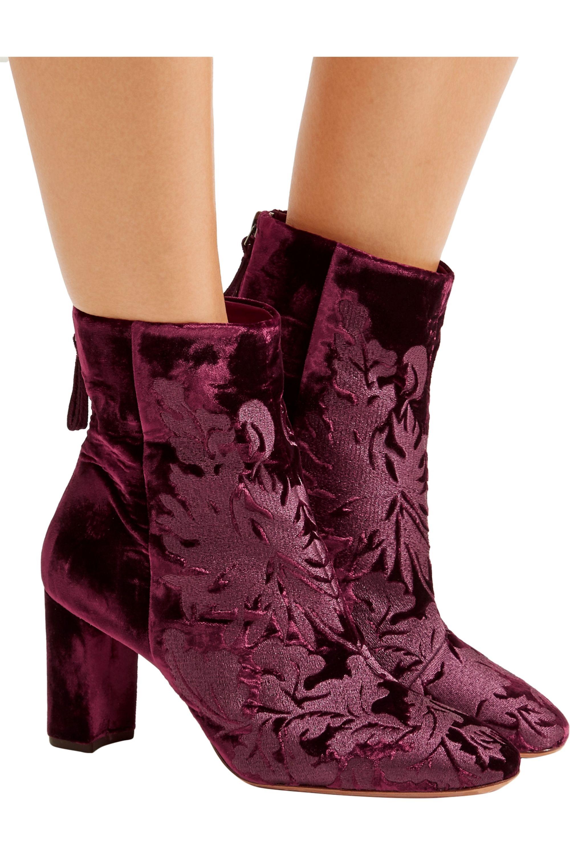 Alexandre Birman Regina flocked velvet ankle boots
