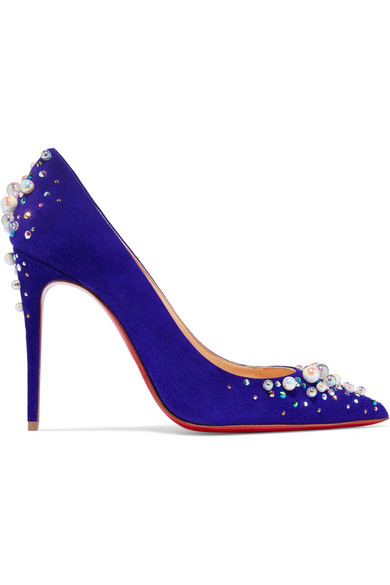 christian louboutin female christian louboutin candidate 100 embellished suede pumps purple
