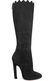 Scalloped suede knee boots