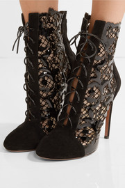 Alaïa Laser-cut suede and patent-leather ankle boots
