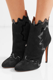 Alaïa Patent leather-trimmed suede ankle boots