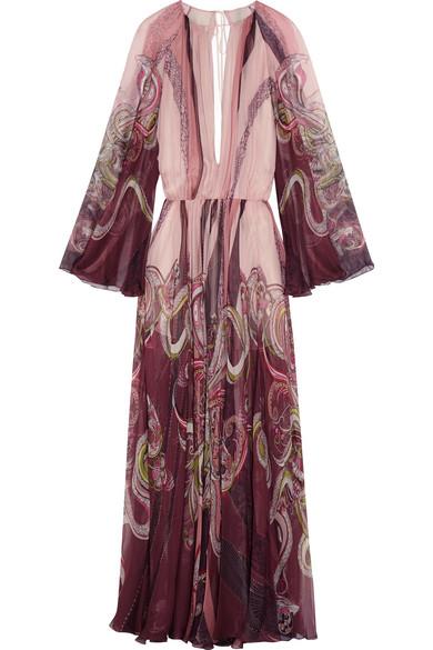 Roberto Cavalli - Open-back Printed Silk-chiffon Gown - Blush