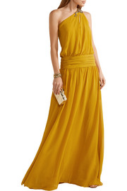 Roberto Cavalli One-shoulder embellished silk-georgette gown