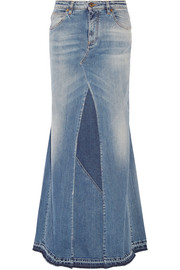 Paneled stretch-denim maxi skirt