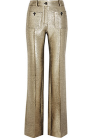Roberto Cavalli Wool-blend lamé flared pants