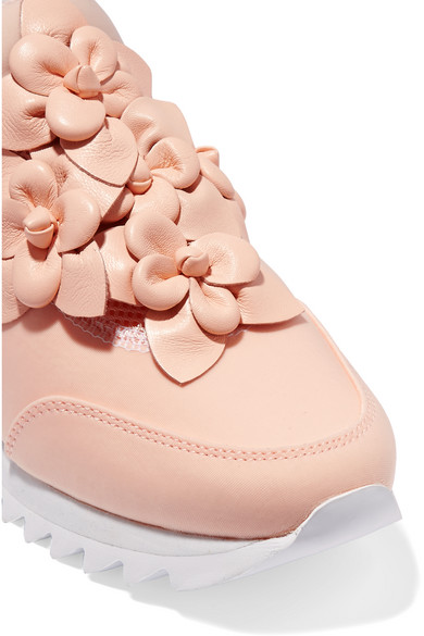 6c579f429dee Tory Burch. Blossom leather-trimmed neoprene sneakers. £106. Zoom In