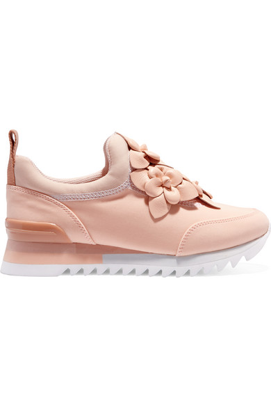 e4aa3be874a6 Tory Burch. Blossom leather-trimmed neoprene sneakers