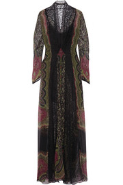 Lace-paneled printed crinkled-silk gown