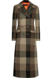 Embellished jacquard-trimmed plaid wool coat