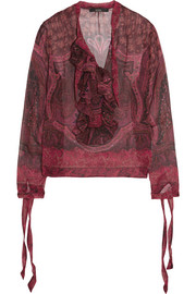 Ruffled printed silk-georgette blouse