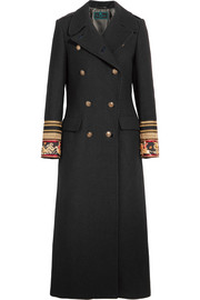 Etro Embroidered double-breasted wool-blend twill coat