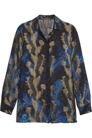 Etro Printed fil coupé silk-blend shirt