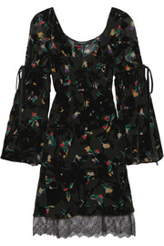 Etro Velvet and lace-trimmed printed devoré-chiffon dress