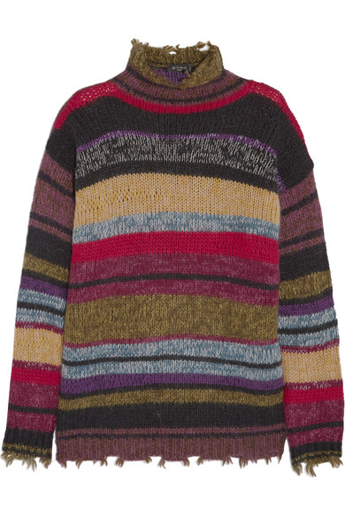 Etro - Oversized Striped Wool-blend Sweater - Army green