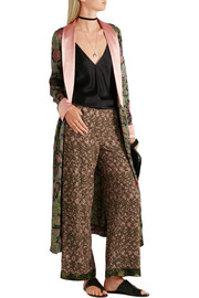 Embroidered crepe wide-leg pants