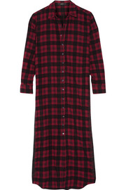 Etro Embroidered checked wool and cotton-blend flannel shirt