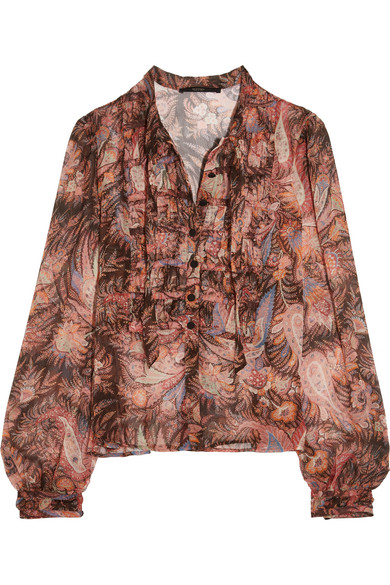 Etro - Ruched Paisley-print Silk-chiffon Blouse - Pink