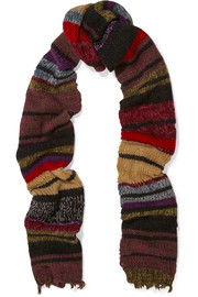 Striped wool-blend scarf