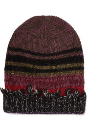 Striped frayed wool-blend beanie