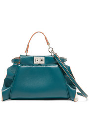 Fendi Peekaboo micro ruffle-trimmed leather shoulder bag