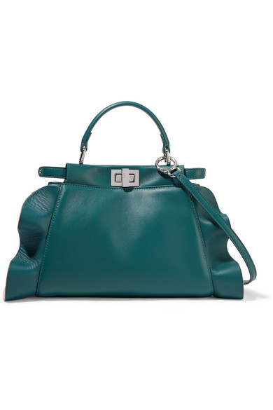 fendi female fendi peekaboo mini ruffletrimmed leather shoulder bag petrol