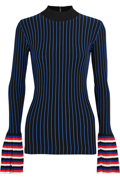 Emilio Pucci - Striped Ribbed-knit Sweater - Navy