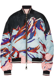 Reversible printed faille and shell down bomber jacket