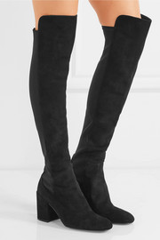 Halftime suede and stretch over-the-knee boots
