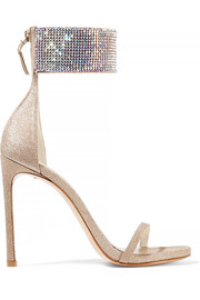 Cufflove embellished glittered mesh sandals