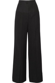 Brax linen blend-paneled wool wide-leg pants