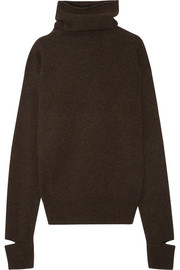 Cape-effect wool turtleneck sweater
