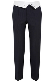 Yoyo pinstriped wool-blend crepe tapered pants