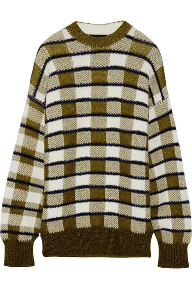 Joseph - Oversized Checked Chunky-knit Sweater - Army green