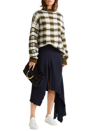Oversized checked chunky-knit sweater