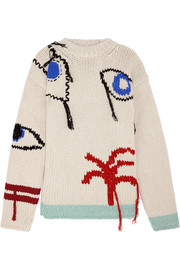 Tree fringed intarsia wool sweater