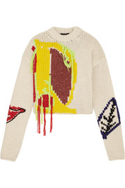 Abstract appliquéd fringed intarsia wool sweater