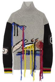 Fruit fringed intarsia wool turtleneck sweater
