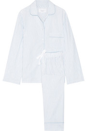 Jamie striped cotton-poplin pajama set