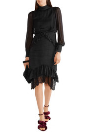 Isa lace-trimmed fil coupé dress
