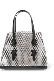 Mini eyelet-embellished leather tote